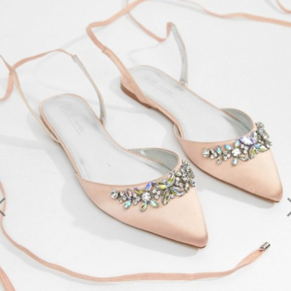 96869df3eb8 NWB Flat Satin Pink Bejeweled Wedding Bridal Shoes
